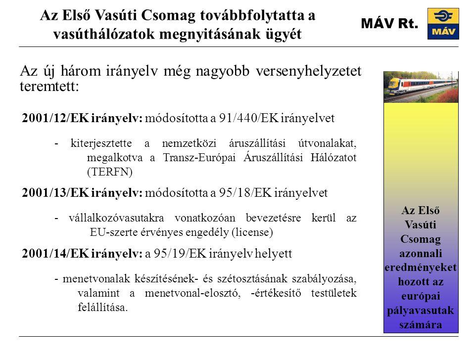 MÁV Rt. Az új három irányelv még nagyobb versenyhelyzetet teremtett: Az Első Vasúti Csomag továbbfolytatta a vasúthálózatok megnyitásának ügyét 2001/1
