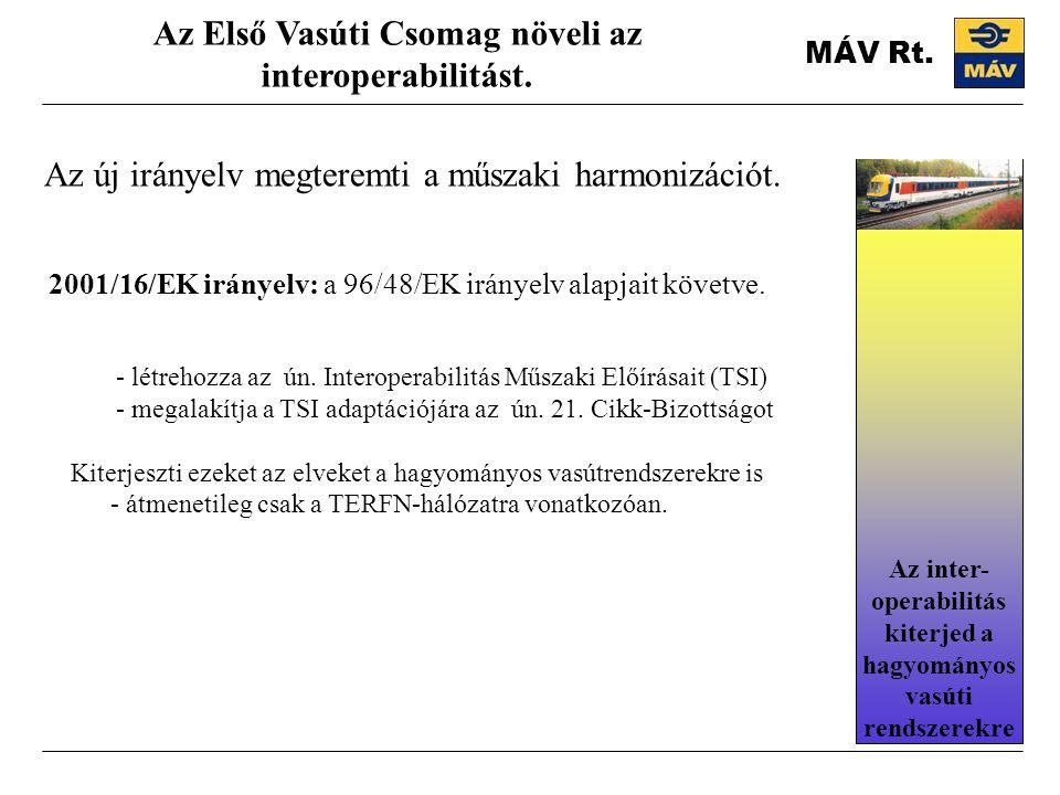 MÁV Rt. Az új irányelv megteremti a műszaki harmonizációt. Az Első Vasúti Csomag növeli az interoperabilitást. 2001/16/EK irányelv: a 96/48/EK irányel