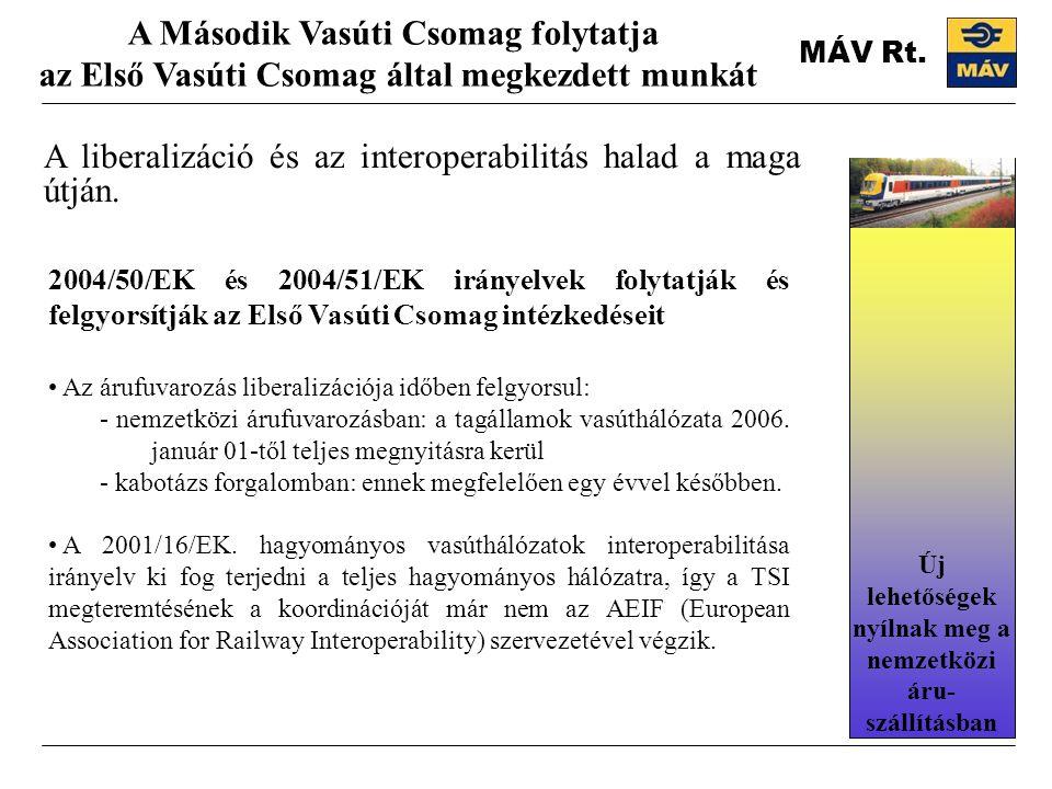 MÁV Rt.A liberalizáció és az interoperabilitás halad a maga útján.