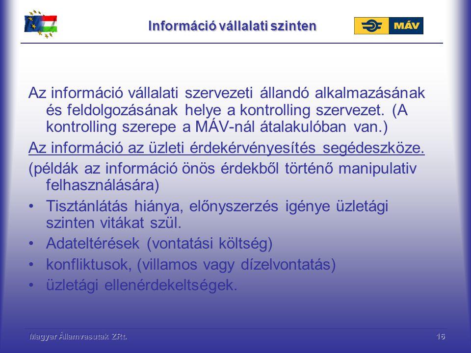 Magyar Államvasutak ZRt.17 Információ vállalati szinten Az információ hasznosulás vállalaton belüli folyamata 1.Információhordozók adatfeltöltése 2.Információ feldolgozás (központ) 3.Vezetői tájékoztatás (beszámoló) 4.Döntés előkészítés (Elemzések, vizsgálatok) 5.Fejlesztési, beruházási javaslat (Előterjesztés) 6.Döntés
