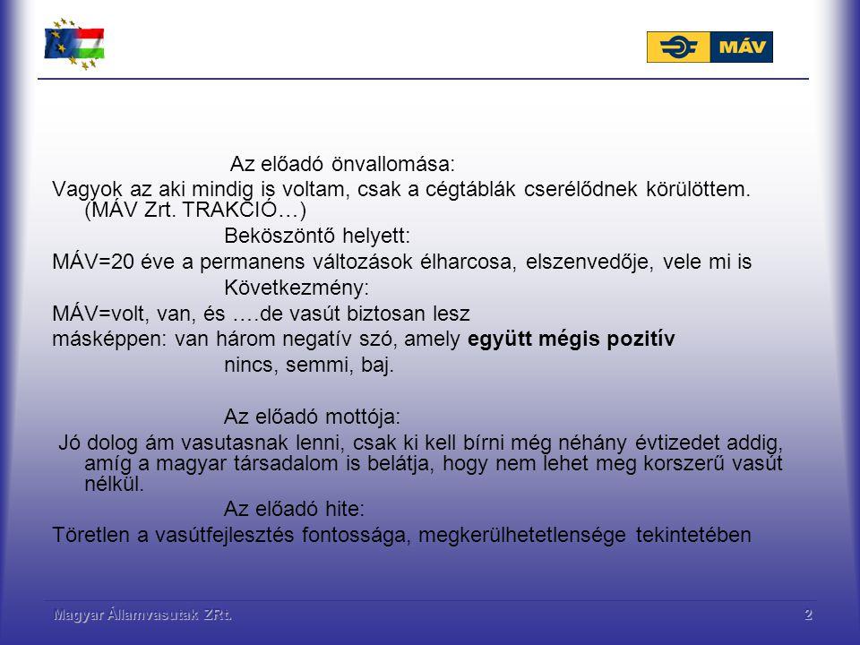 Magyar Államvasutak ZRt.3 Vázlat helyett kérdések, amelyekre hallgatói feleletet remélek.