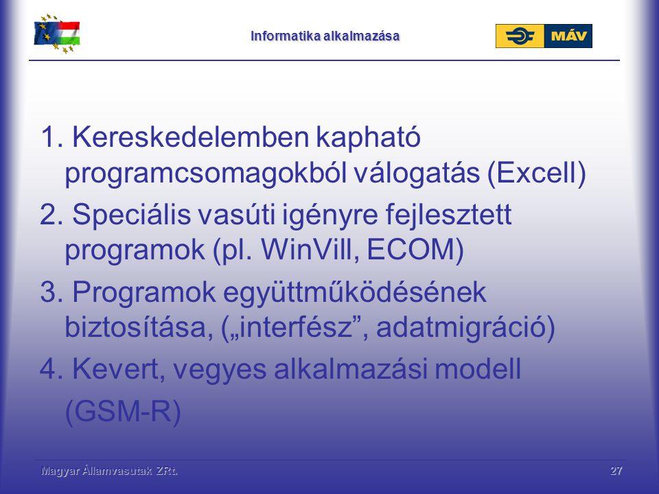 Magyar Államvasutak ZRt.27 Informatika alkalmazása 1. Kereskedelemben kapható programcsomagokból válogatás (Excell) 2. Speciális vasúti igényre fejles