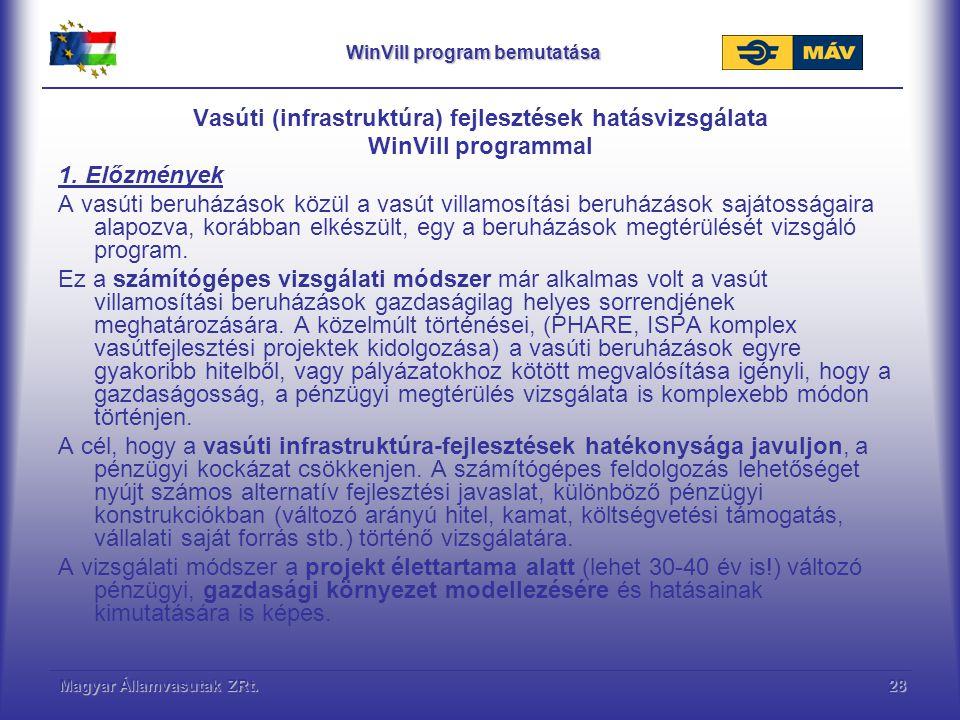 Magyar Államvasutak ZRt.29 WinVill program bemutatása Mikró-gazdasági, vállalati hatások kezelése (jövőkép alkotás) A projekt élettartama alatt a projekthez kapcsolódóan változó dinamikájú, és különböző bevételi és költség dinamika tervezhető.