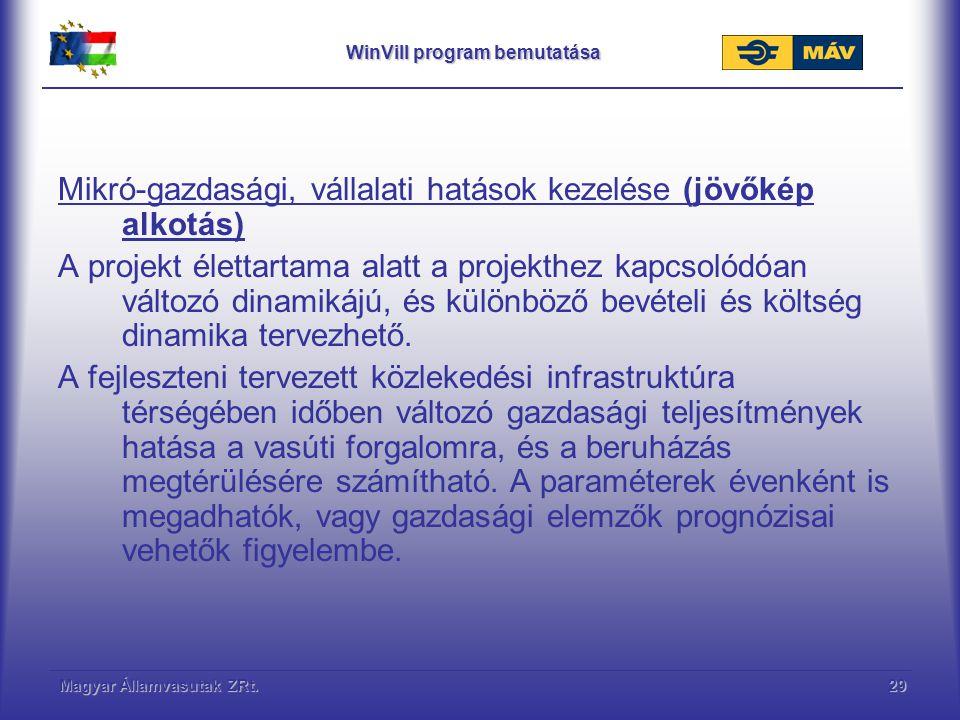 Magyar Államvasutak ZRt.30 WinVill program bemutatása, jövőkép alkotás Makró-gazdasági hatások Mivel a projekt, vagy a hiteltörlesztés élettartama alatt a projekthez kapcsolódóan változó, és különböző bevételi és költség dinamika tervezhető, a módszer a valós gazdasági folyamatok, mint pl.