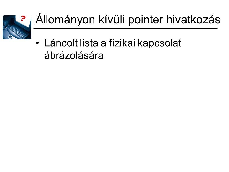 Állományon kívüli pointer hivatkozás Láncolt lista a fizikai kapcsolat ábrázolására