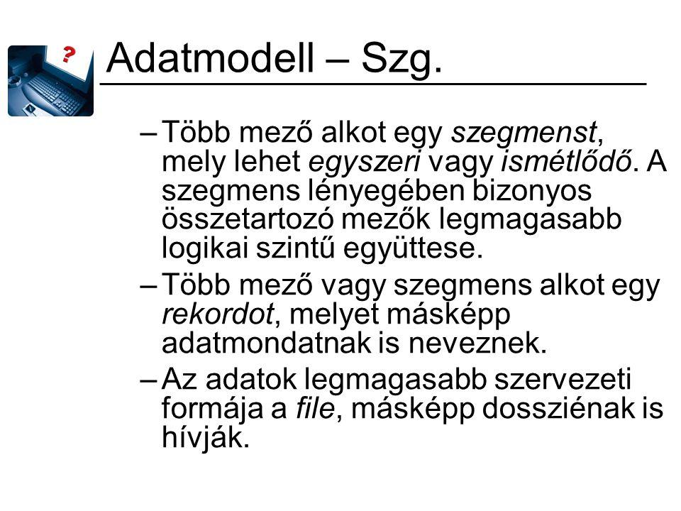 Állománylétrehozási módszerek Állománystruktúrák a rekordok egymáshoz való helyzete alapján –szekvenciális fájlszerkezet: –hierarchikus fájlszerkezet –hálós fájlszerkezet –asszociatív struktúrák
