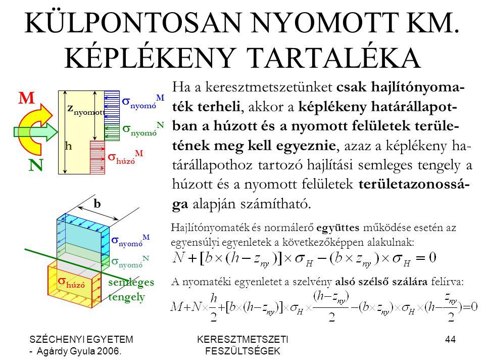 SZÉCHENYI EGYETEM - Agárdy Gyula 2006.KERESZTMETSZETI FESZÜLTSÉGEK 44 KÜLPONTOSAN NYOMOTT KM.