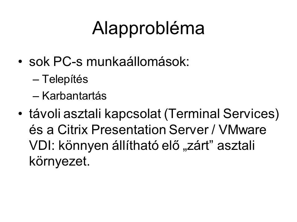 Alapprobléma sok PC-s munkaállomások: –Telepítés –Karbantartás távoli asztali kapcsolat (Terminal Services) és a Citrix Presentation Server / VMware V