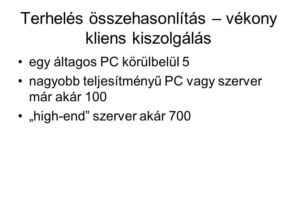 """Terhelés összehasonlítás – vékony kliens kiszolgálás egy áltagos PC körülbelül 5 nagyobb teljesítményű PC vagy szerver már akár 100 """"high-end"""" szerver"""