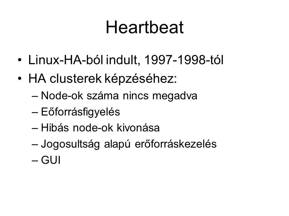 Heartbeat Linux-HA-ból indult, 1997-1998-tól HA clusterek képzéséhez: –Node-ok száma nincs megadva –Eőforrásfigyelés –Hibás node-ok kivonása –Jogosult