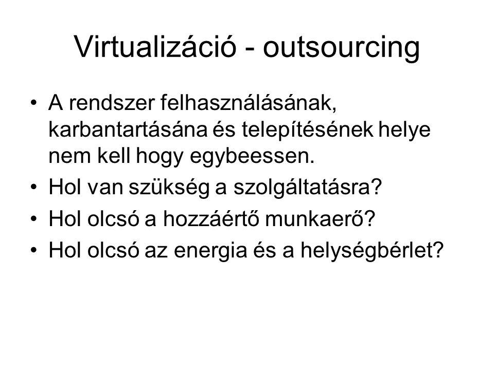 Virtualizáció - outsourcing A rendszer felhasználásának, karbantartásána és telepítésének helye nem kell hogy egybeessen. Hol van szükség a szolgáltat