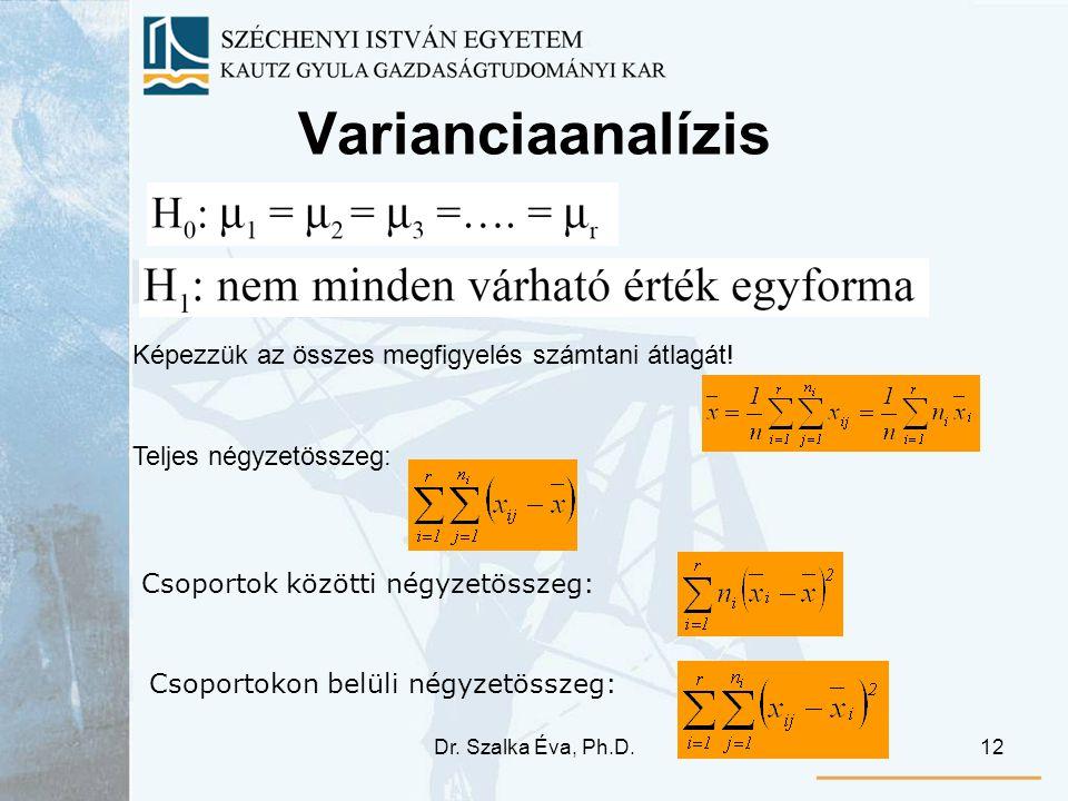Dr. Szalka Éva, Ph.D.12 Varianciaanalízis Képezzük az összes megfigyelés számtani átlagát! Teljes négyzetösszeg: Csoportok közötti négyzetösszeg: Csop