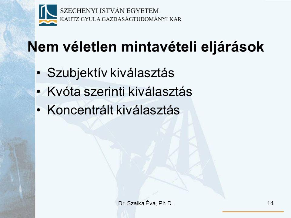 Dr. Szalka Éva, Ph.D.14 Nem véletlen mintavételi eljárások Szubjektív kiválasztás Kvóta szerinti kiválasztás Koncentrált kiválasztás