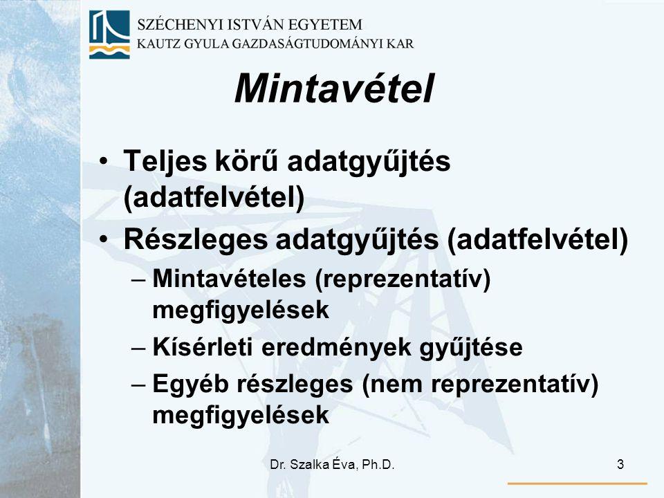 Dr. Szalka Éva, Ph.D.3 Mintavétel Teljes körű adatgyűjtés (adatfelvétel) Részleges adatgyűjtés (adatfelvétel) –Mintavételes (reprezentatív) megfigyelé