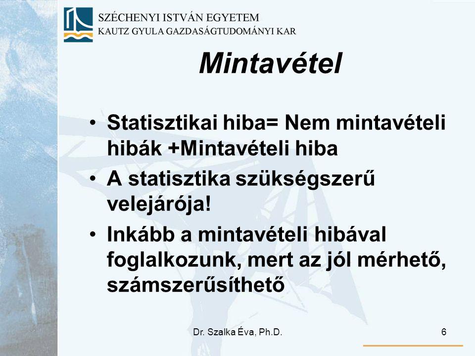Dr. Szalka Éva, Ph.D.6 Mintavétel Statisztikai hiba= Nem mintavételi hibák +Mintavételi hiba A statisztika szükségszerű velejárója! Inkább a mintavéte
