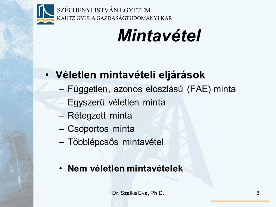 Dr. Szalka Éva, Ph.D.8 Mintavétel Véletlen mintavételi eljárások –Független, azonos eloszlású (FAE) minta –Egyszerű véletlen minta –Rétegzett minta –C