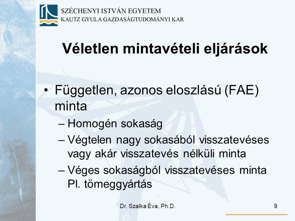 Dr. Szalka Éva, Ph.D.9 Véletlen mintavételi eljárások Független, azonos eloszlású (FAE) minta –Homogén sokaság –Végtelen nagy sokasából visszatevéses