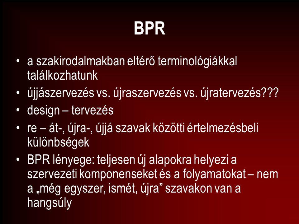 BPR a szakirodalmakban eltérő terminológiákkal találkozhatunk újjászervezés vs. újraszervezés vs. újratervezés??? design – tervezés re – át-, újra-, ú