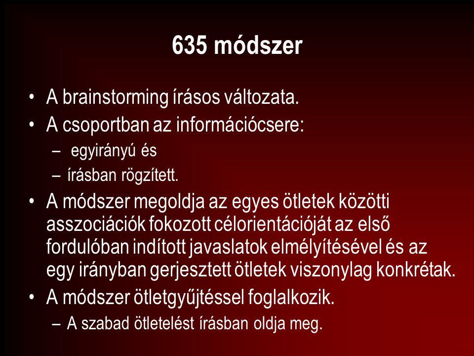 635 módszer A brainstorming írásos változata. A csoportban az információcsere: – egyirányú és –írásban rögzített. A módszer megoldja az egyes ötletek
