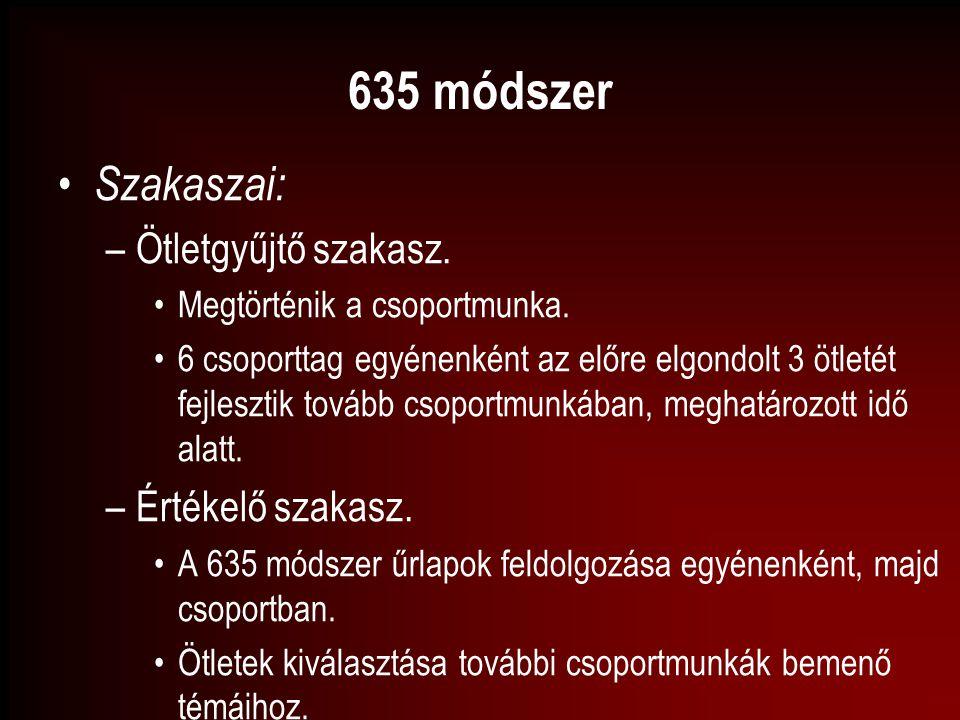 635 módszer Szakaszai: –Ötletgyűjtő szakasz. Megtörténik a csoportmunka. 6 csoporttag egyénenként az előre elgondolt 3 ötletét fejlesztik tovább csopo