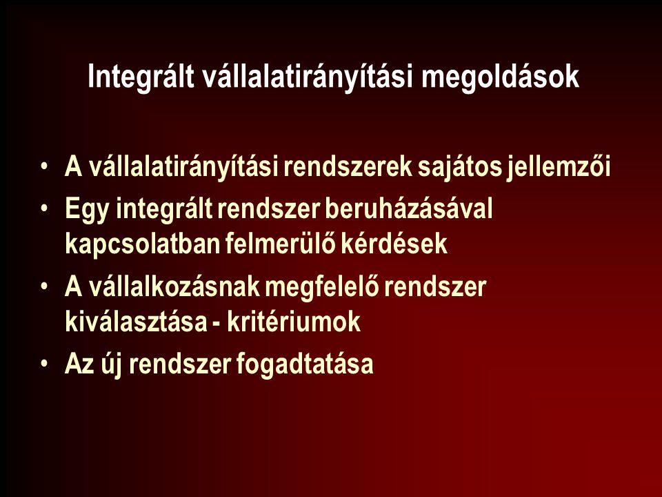 Integrált vállalatirányítási megoldások A vállalatirányítási rendszerek sajátos jellemzői Egy integrált rendszer beruházásával kapcsolatban felmerülő