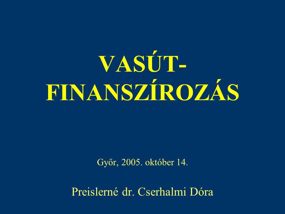 VASÚT- FINANSZÍROZÁS Győr, 2005. október 14. Preislerné dr. Cserhalmi Dóra