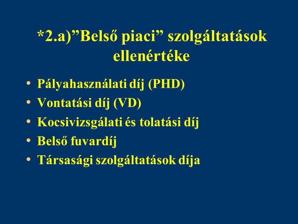 """*2.a)""""Belső piaci"""" szolgáltatások ellenértéke Pályahasználati díj (PHD) Vontatási díj (VD) Kocsivizsgálati és tolatási díj Belső fuvardíj Társasági sz"""