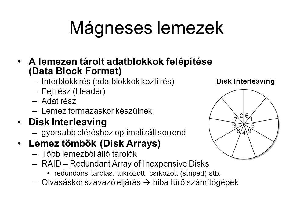 Mágneses lemezek A lemezen tárolt adatblokkok felépítése (Data Block Format) –Interblokk rés (adatblokkok közti rés) –Fej rész (Header) –Adat rész –Lemez formázáskor készülnek Disk Interleaving –gyorsabb eléréshez optimalizált sorrend Lemez tömbök (Disk Arrays) –Több lemezből álló tárolók –RAID – Redundant Array of Inexpensive Disks redundáns tárolás: tükrözött, csíkozott (striped) stb.