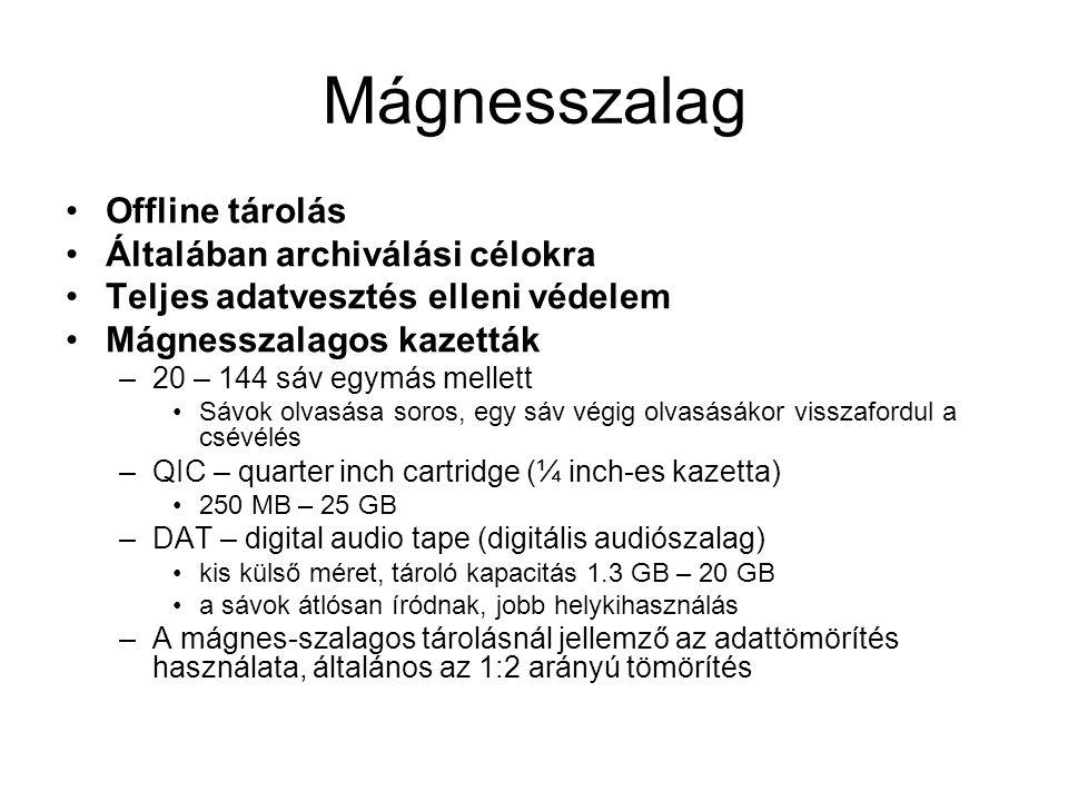Mágnesszalag Offline tárolás Általában archiválási célokra Teljes adatvesztés elleni védelem Mágnesszalagos kazetták –20 – 144 sáv egymás mellett Sávo