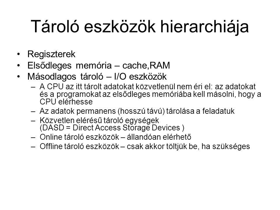 Tároló eszközök hierarchiája Regiszterek Elsődleges memória – cache,RAM Másodlagos tároló – I/O eszközök –A CPU az itt tárolt adatokat közvetlenül nem éri el: az adatokat és a programokat az elsődleges memóriába kell másolni, hogy a CPU elérhesse –Az adatok permanens (hosszú távú) tárolása a feladatuk –Közvetlen elérésű tároló egységek (DASD = Direct Access Storage Devices ) –Online tároló eszközök – állandóan elérhető –Offline tároló eszközök – csak akkor töltjük be, ha szükséges