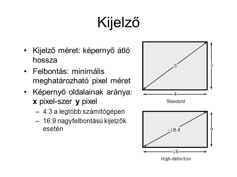 Kijelző Kijelző méret: képernyő átló hossza Felbontás: minimális meghatározható pixel méret Képernyő oldalainak aránya: x pixel-szer y pixel –4:3 a legtöbb számítógépen –16:9 nagyfelbontású kijelzők esetén
