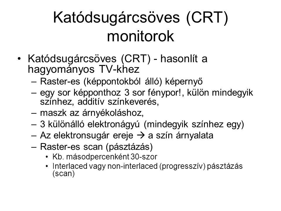 Katódsugárcsöves (CRT) monitorok Katódsugárcsöves (CRT) - hasonlít a hagyományos TV-khez –Raster-es (képpontokból álló) képernyő –egy sor képponthoz 3 sor fénypor!, külön mindegyik színhez, additív színkeverés, –maszk az árnyékoláshoz, –3 különálló elektronágyú (mindegyik színhez egy) –Az elektronsugár ereje  a szín árnyalata –Raster-es scan (pásztázás) Kb.