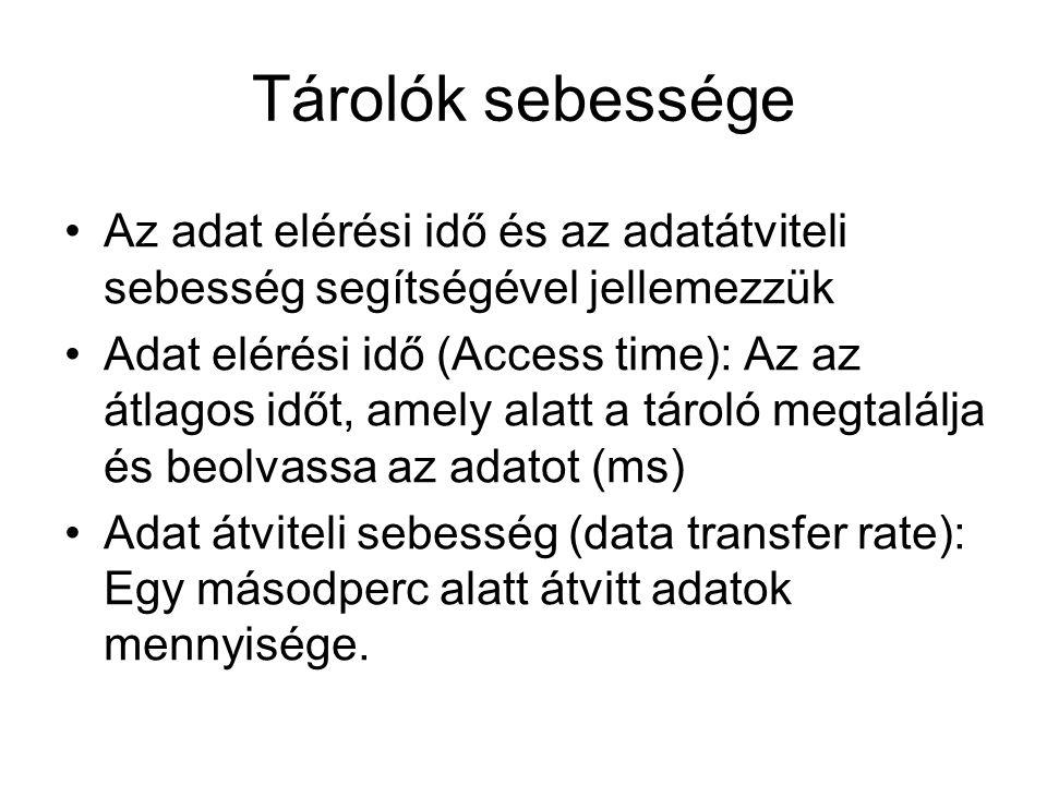 Tárolók sebessége Az adat elérési idő és az adatátviteli sebesség segítségével jellemezzük Adat elérési idő (Access time): Az az átlagos időt, amely alatt a tároló megtalálja és beolvassa az adatot (ms) Adat átviteli sebesség (data transfer rate): Egy másodperc alatt átvitt adatok mennyisége.