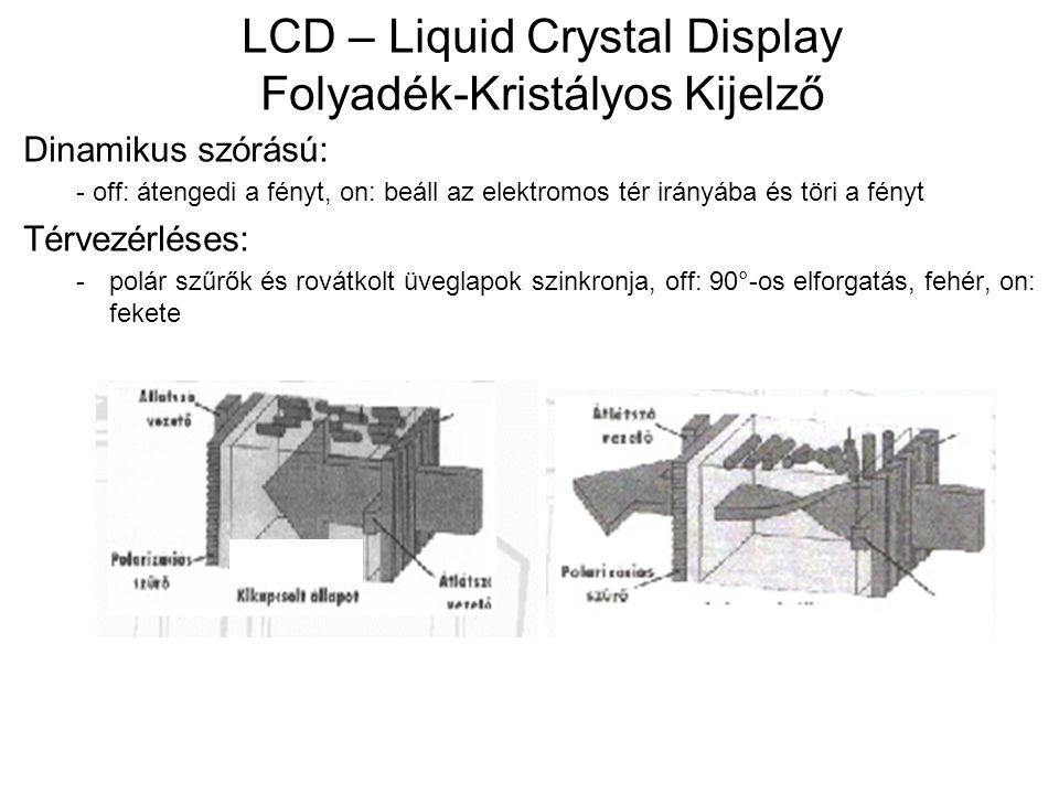 LCD – Liquid Crystal Display Folyadék-Kristályos Kijelző Dinamikus szórású: - off: átengedi a fényt, on: beáll az elektromos tér irányába és töri a fényt Térvezérléses: -polár szűrők és rovátkolt üveglapok szinkronja, off: 90°-os elforgatás, fehér, on: fekete