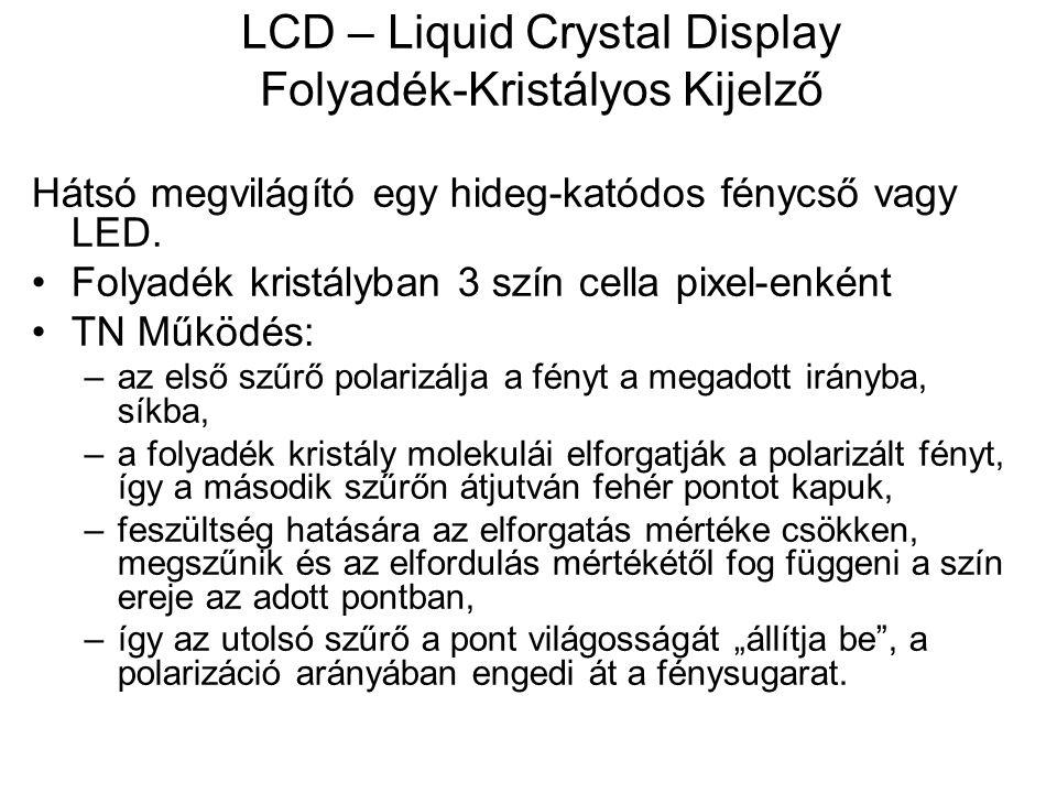 LCD – Liquid Crystal Display Folyadék-Kristályos Kijelző Hátsó megvilágító egy hideg-katódos fénycső vagy LED. Folyadék kristályban 3 szín cella pixel
