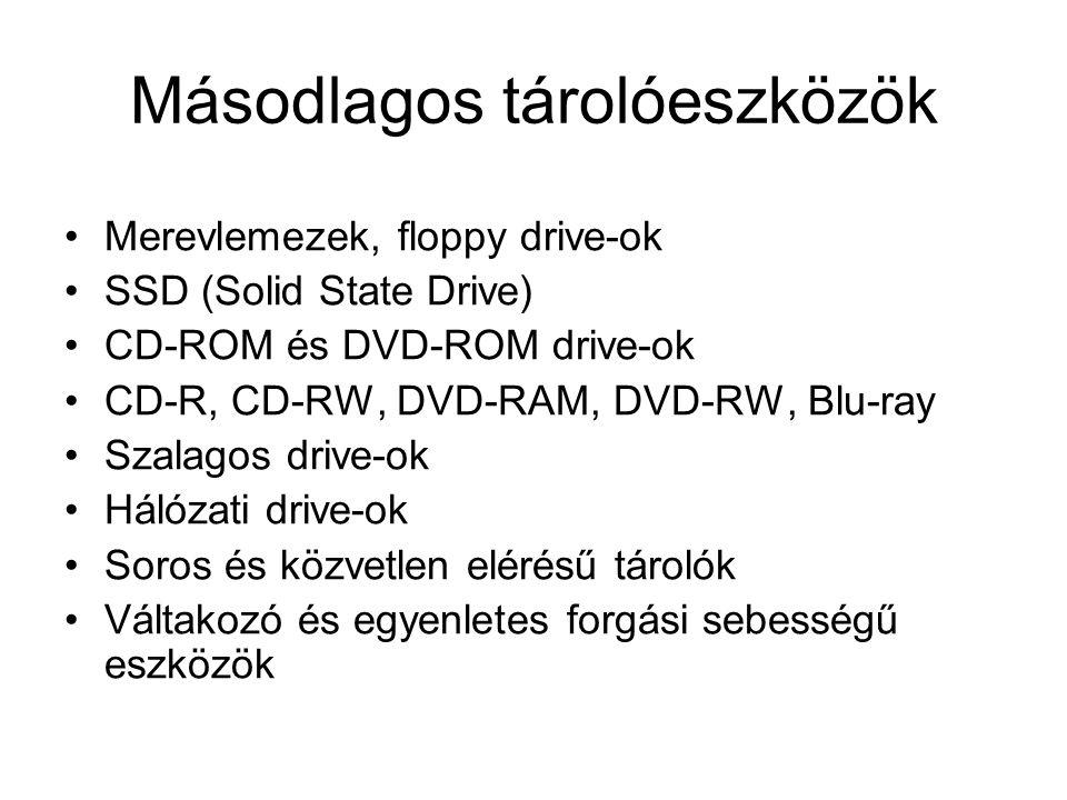 Másodlagos tárolóeszközök Merevlemezek, floppy drive-ok SSD (Solid State Drive) CD-ROM és DVD-ROM drive-ok CD-R, CD-RW, DVD-RAM, DVD-RW, Blu-ray Szalagos drive-ok Hálózati drive-ok Soros és közvetlen elérésű tárolók Váltakozó és egyenletes forgási sebességű eszközök