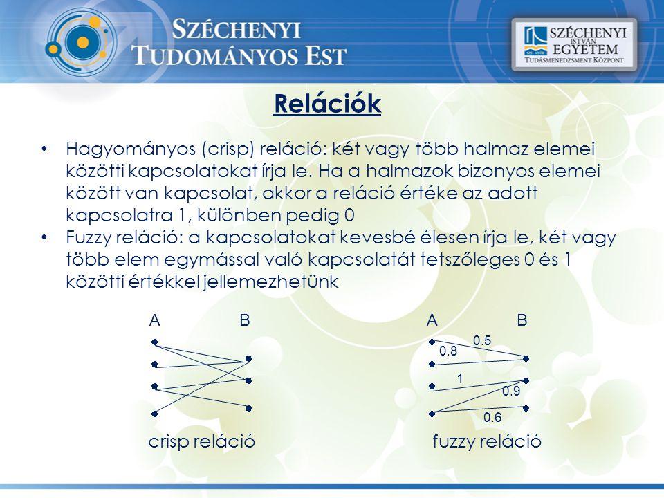 Relációk Hagyományos (crisp) reláció: két vagy több halmaz elemei közötti kapcsolatokat írja le. Ha a halmazok bizonyos elemei között van kapcsolat, a