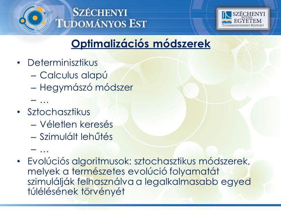 Optimalizációs módszerek Determinisztikus – Calculus alapú – Hegymászó módszer – … Sztochasztikus – Véletlen keresés – Szimulált lehűtés – … Evolúciós