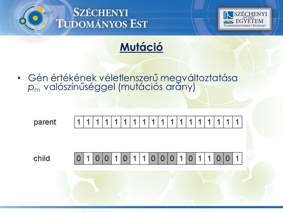 Mutáció Gén értékének véletlenszerű megváltoztatása p m valószínűséggel (mutációs arány)