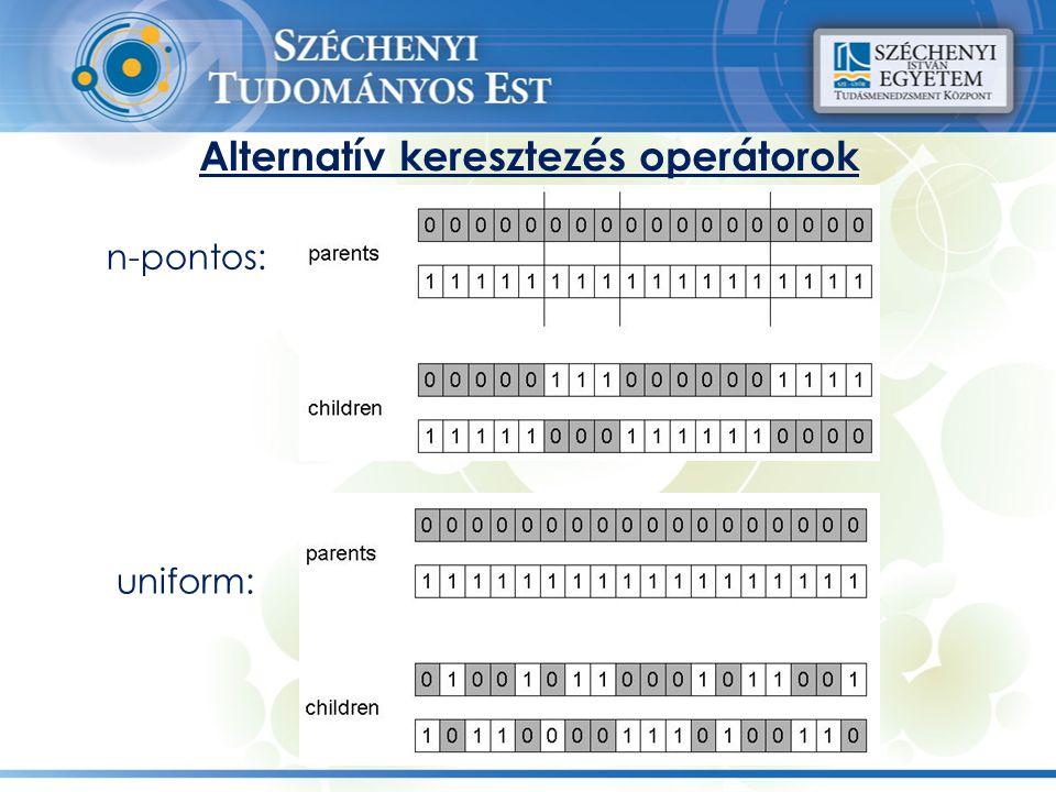 Alternatív keresztezés operátorok n-pontos: uniform: