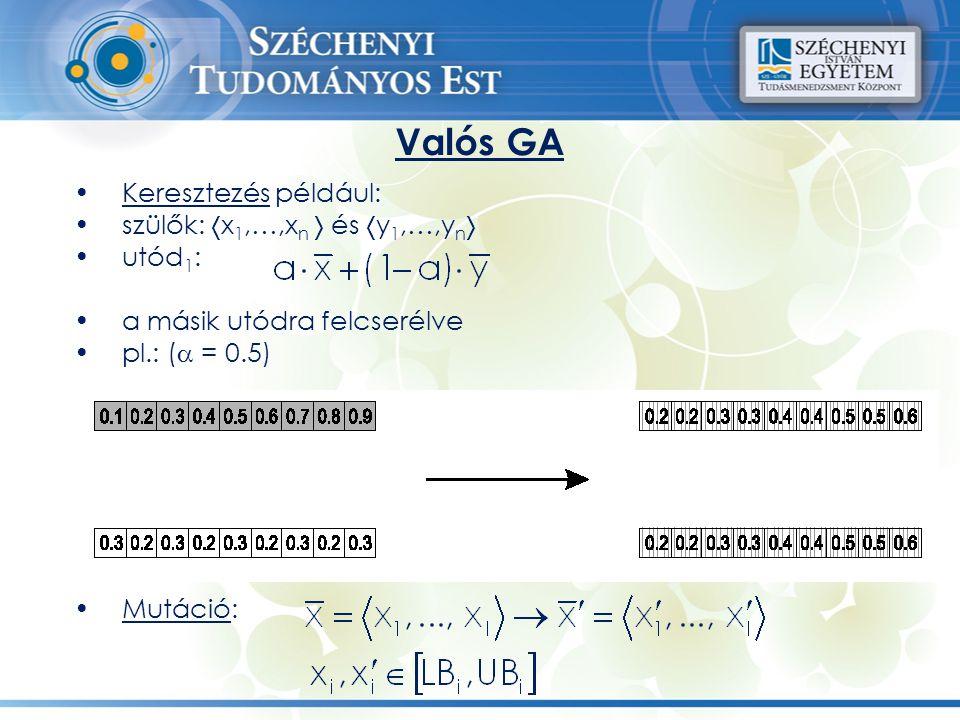 Keresztezés például: szülők:  x 1,…,x n  és  y 1,…,y n  utód 1 : a másik utódra felcserélve pl.: (  = 0.5) Mutáció: Valós GA