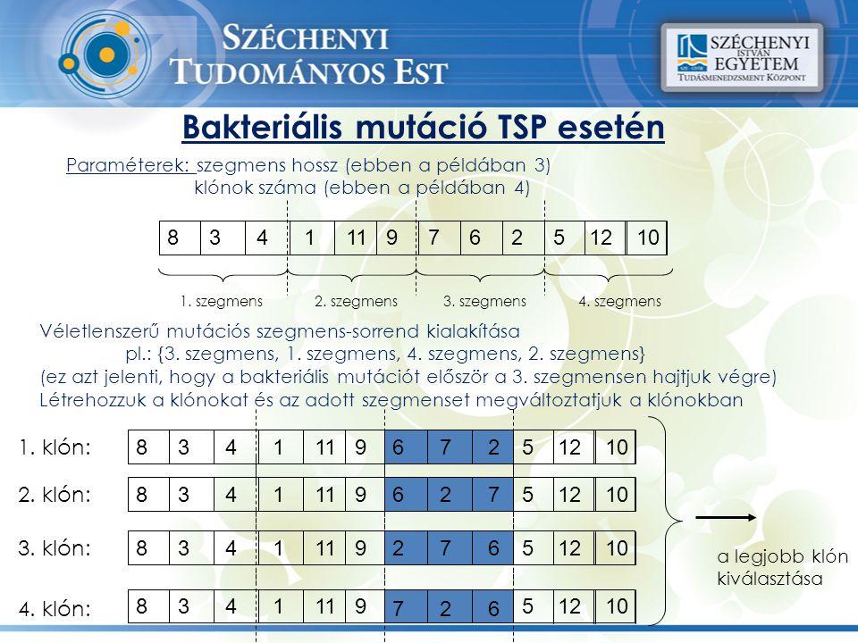 Bakteriális mutáció TSP esetén Paraméterek: szegmens hossz (ebben a példában 3) klónok száma (ebben a példában 4) Véletlenszerű mutációs szegmens-sorr