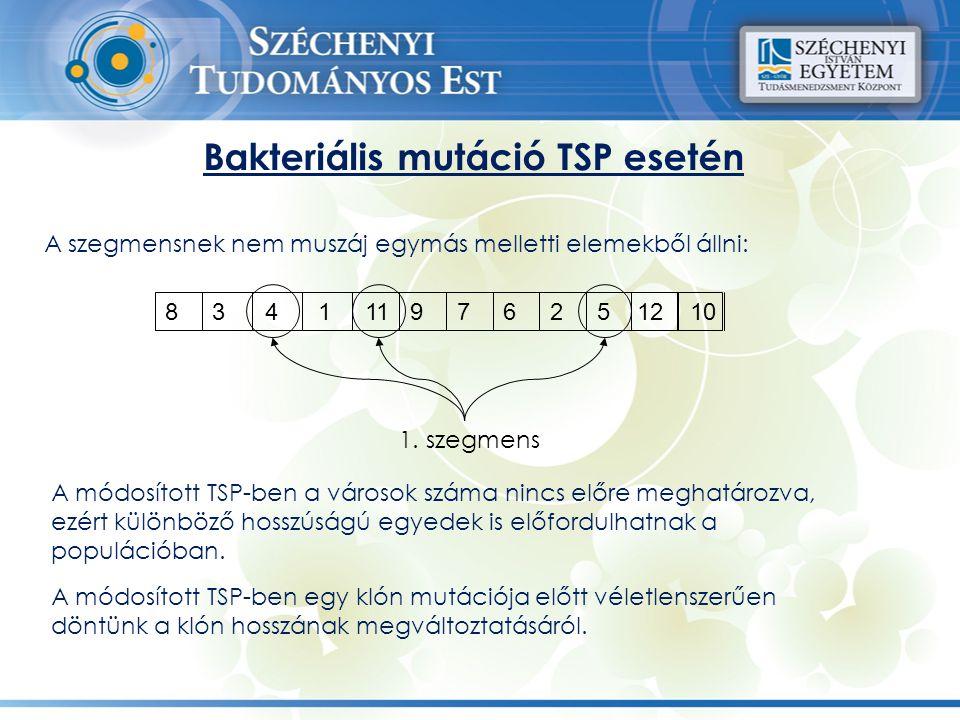 8 3 4 1 11 9 7 6 2 5 12 10 1. szegmens Bakteriális mutáció TSP esetén A szegmensnek nem muszáj egymás melletti elemekből állni: A módosított TSP-ben a