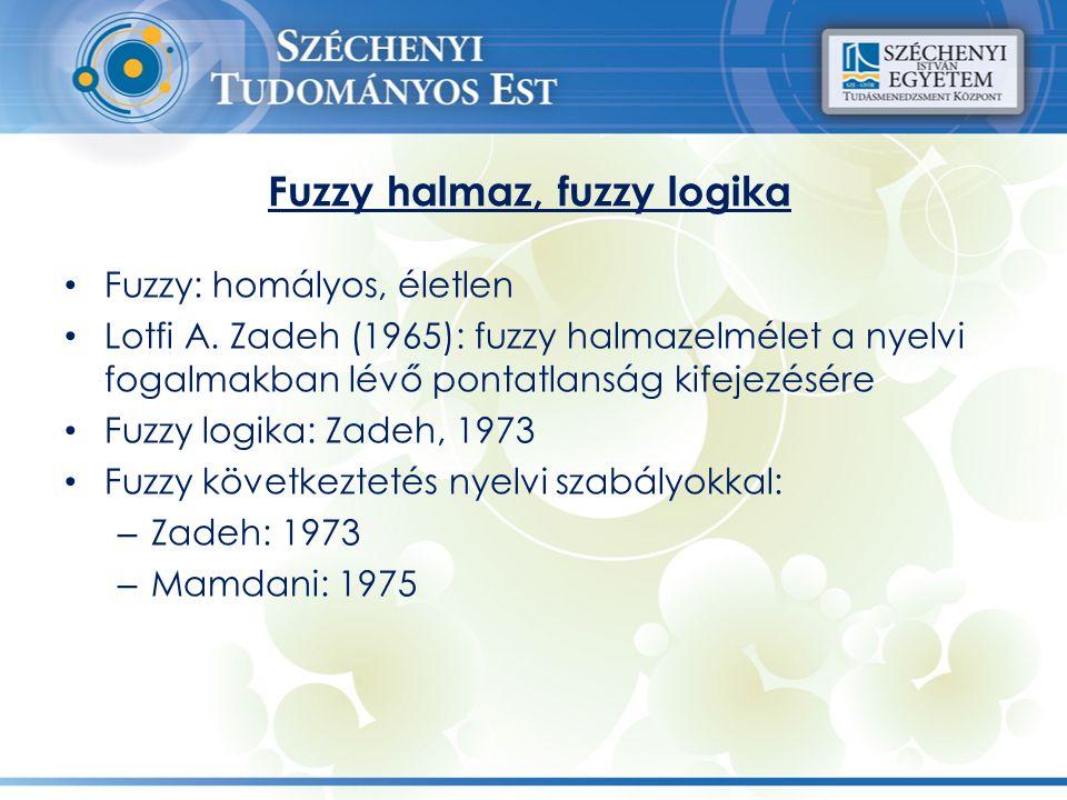 Fuzzy halmaz, fuzzy logika Fuzzy: homályos, életlen Lotfi A. Zadeh (1965): fuzzy halmazelmélet a nyelvi fogalmakban lévő pontatlanság kifejezésére Fuz
