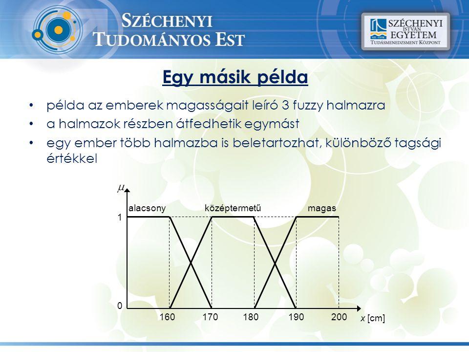 Egy másik példa példa az emberek magasságait leíró 3 fuzzy halmazra a halmazok részben átfedhetik egymást egy ember több halmazba is beletartozhat, kü