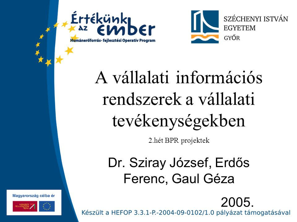 2005. A vállalati információs rendszerek a vállalati tevékenységekben Dr. Sziray József, Erdős Ferenc, Gaul Géza 2.hét BPR projektek