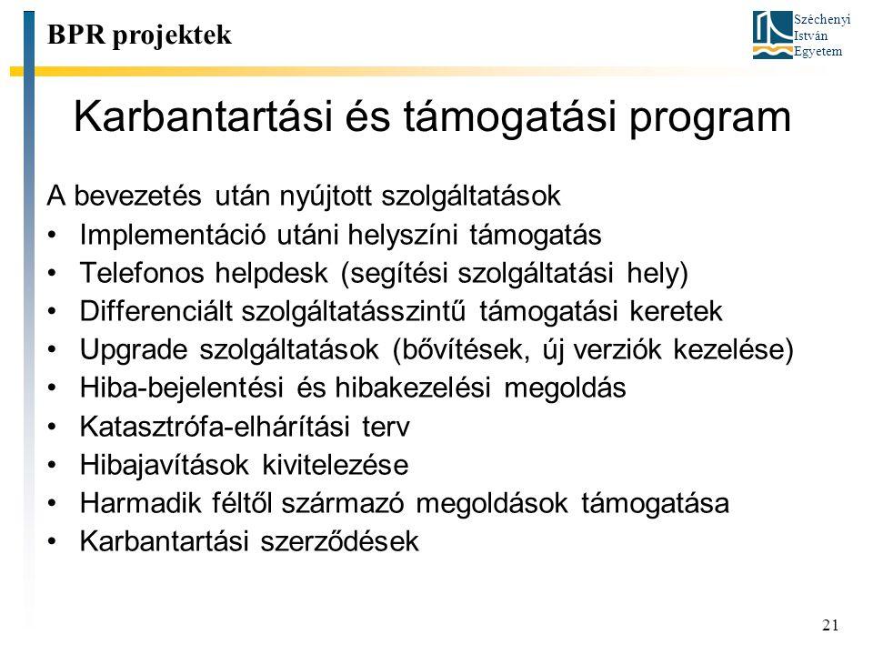 Széchenyi István Egyetem 21 Karbantartási és támogatási program BPR projektek A bevezetés után nyújtott szolgáltatások Implementáció utáni helyszíni t