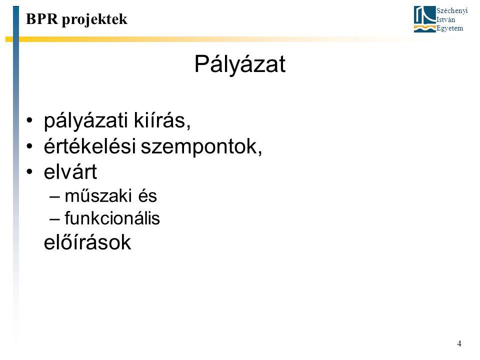 Széchenyi István Egyetem 4 Pályázat pályázati kiírás, értékelési szempontok, elvárt –műszaki és –funkcionális előírások BPR projektek