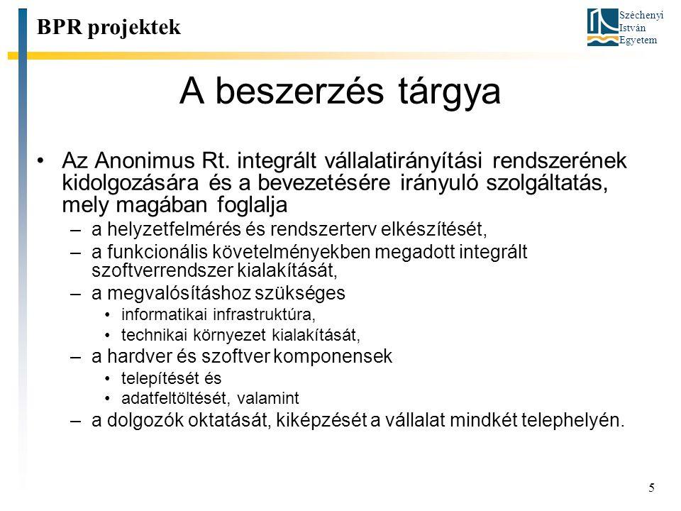 Széchenyi István Egyetem 5 A beszerzés tárgya Az Anonimus Rt. integrált vállalatirányítási rendszerének kidolgozására és a bevezetésére irányuló szolg
