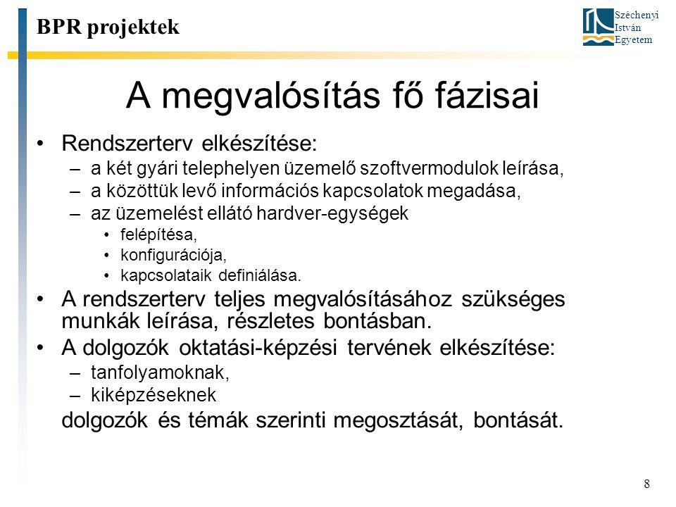 Széchenyi István Egyetem 8 A megvalósítás fő fázisai Rendszerterv elkészítése: –a két gyári telephelyen üzemelő szoftvermodulok leírása, –a közöttük l